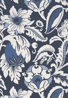 Anna French - Mallorca in Navy, Collection Serenade Anna French Wallpaper, Navy Wallpaper, Metallic Wallpaper, Bathroom Wallpaper, Drapery Fabric, Surface Pattern Design, Designer Wallpaper, Print Patterns, Tapestry