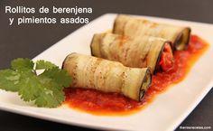Rollitos de berenjena y pimientos asados