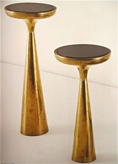 Phillips  New York  $18,000 - 22,000 Fontana Arte, polished brass with colored glass side tables, model no. 2221, 1960s.