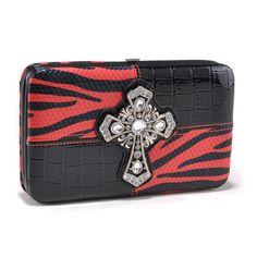 Zebra print and croco texture frame wallet w/ rhinestone cross - Red