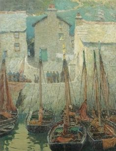 """Fishermen at Dock,"" Henry Bayley Snell, oil on canvas, 44 x 34.3"", private collection."