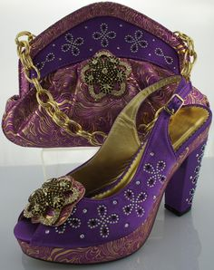 Purple Paisley Beaded Heeled Sandals and Matching Bag. Guangzhou Charinter Trading Co.,Ltd.