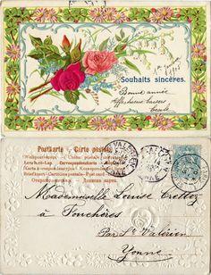 Souhaits sincères - Dans un cadre de marguerites roses et trèfles à quatre feuilles, des roses en tissu, du muguet et des myosotis - 1905 (from http://mercipourlacarte.com/picture?/361)