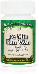 Pe Min Kan Wan may used for the following:  Post-nasal drip Common cold and flu Sore throats Unblocks the nose Breaks up phlegm Sinus pain Sinus headache Dizziness Sneezing Itchy nose and eyes Earache Congestion Cough and wheezing