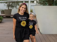Mommy and me outfits, You are my sunshine, Mommy and me shirts, Sunflower shirt, Mommy and me set Sunflower Clothing, Sunflower Shirt, Mommy And Me Shirt, Mommy And Me Outfits, Custom Baby Gifts, Thing 1, You Are My Sunshine, Mom And Baby, Vintage Shirts