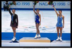 Nagano 1998-Figure skating-singles W-LIPINSKI Tara (USA) 1st, KWAN Michelle (USA) 2nd and CHEN Lu (CHN) 3rd.