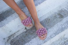 RiRiPoM, Boho Sandals, Greek Leather Sandals,Pom Pom Sandals, Slip On , Crochet Sandals, Macrame, Knitted Sandals,Bubble Stitch,''Maldives''
