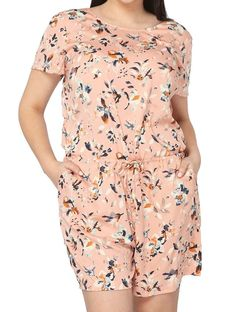 d39f92e152 Junarose NEW Pink Women s Size 14 Short Sleeve Floral Drawstring Romper  71   814  fashion  clothing  shoes  accessories  womensclothing   jumpsuitsrompers ...