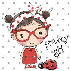 Linda garota de Cartoon com óculos - ilustração de arte em vetor