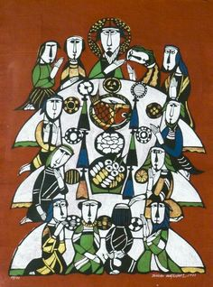 Sadao Watanabe (1913-1996 Japan) ''The Last Supper'' 1975 Block Print on Red Textured Paper 33''x24.5''. Signed and Numbered 69/77.