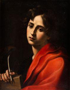 PORTRAIT DES JOHANNES EVANGELIST Öl auf Leinwand. Doubliert. 66 x 50,5 cm. Gerahmt. Dieses Gemälde ist das typisches Produkt einer Zeit puristischer...