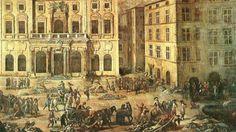Devant l'Hôtel de Ville de Marseille, des morts et des malades de la peste en 1720 © Tableau de Michel Serre