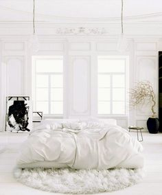 floating white bed, white, bedroom, interiors, style