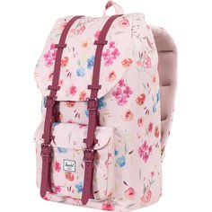 Herschel Supply Co. Little AMessenger Bagsrica Laptop Backpack (1,830 MXN) ❤ liked on Polyvore featuring bags, backpacks, laptop backpacks, pink, strap backpack, day pack backpack, herschel supply co backpack and padded laptop bag
