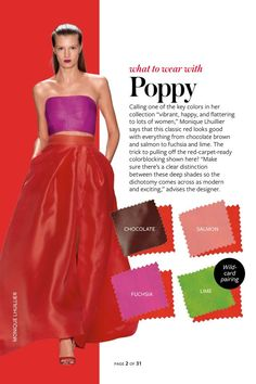 2014: Spring/Summer: Color Charts from InStyle Magazine #whattowearwith Poppy red