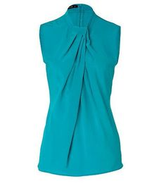 Etro Sleeveless Turquoise Silk Top  $529  A pretty folded pleat adds visual intrigue to this sleeveless silk top