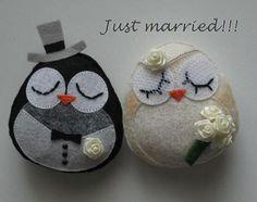 Felt Bride & groom owls.
