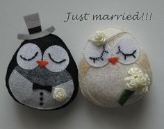 Felt Bride & groom owls.