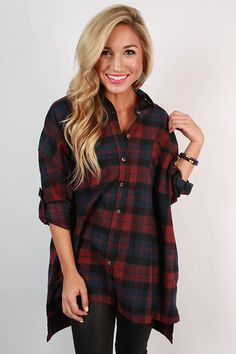 It's not fall without a cute oversized flannel! That being said, you're sure to be head over heels for this adorable top!