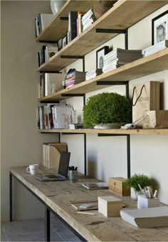 [kreyv]:Work Space Shelving, love the natural wood & open shelves. For the craft room? Office Shelf, Office Workspace, Office Decor, Industrial Workspace, Office Shelving, Office Ideas, Man Office, Desk Shelves, Wooden Shelves