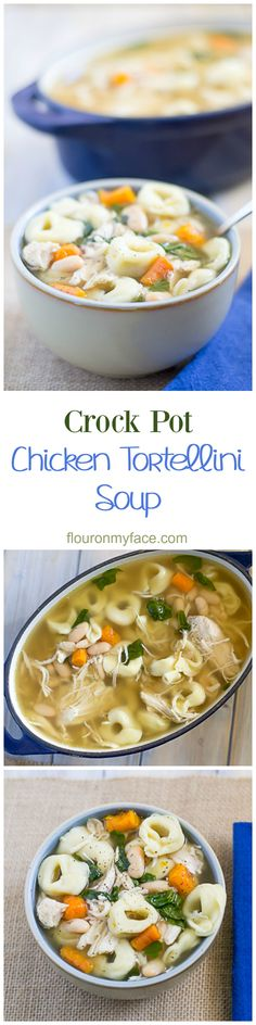 Warm up with the perfect winter soup recipe and make this easy Crock Pot Chicken Tortellini Soup recipe #CrockPotFriday