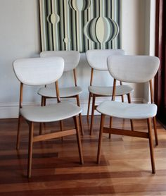 Eames Era Decor Set Of 4 Vintage Fler Parker Style Teak Dining Chairs