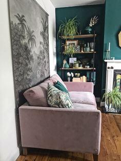 Pink velvet sofa wooden floorboards botanical wall hanging industrial shelf and plenty of plants in the living room Room, Living Room Green, Room Design, Living Room Sofa, Velvet Sofa Living Room, Trending Decor, Interior Design Living Room, Living Room Designs, Pink Sofa