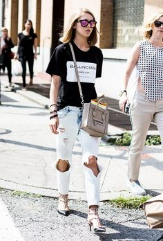Style a pair of ultra-distressed jeans with a fashion-forward t-shirt and statement accessories. #StyleTip #StreetStyle #WWWStyleDare