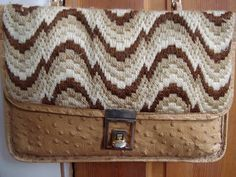 Vintage 1970s Purse Faux Ostrich with Bargello Stitch Flap 2012748