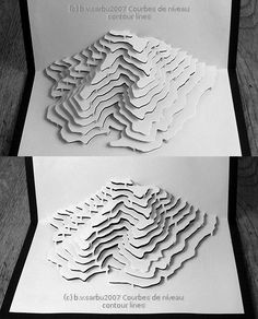 And another kirigami. At the time I thought making a paper mountain following the contour-lines was a great idea. It was fun to cut, easy to fold, but I had a really hard time designing it: it had ...