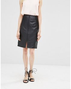 Y.A.S | Black Leather Pencil Skirt | Lyst