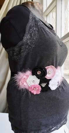 Maternity Sash Flower Maternity Sash Pink and by WildlyWonderful