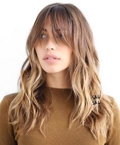 50 Cute and Effortless Long Layered Haircuts with Bangs Light Brown Layered Hairstyle With Bangs. This soft brown ombre boasts shaggy layers throughout and extra long light bangs that you may want to pin up or to the side when doing any sort of activity. Layered Haircuts With Bangs, Thin Hair Haircuts, Hairstyles With Bangs, Layered Hairstyles, Hairstyles 2018, Shaggy Hairstyles, Latest Hairstyles, Wedding Hairstyles, Easy Hairstyles