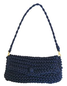 Navy Knit Bag Chunky Knit Bag Baguette Bag by knitknotsupplyco