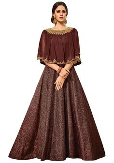 Buy Vipul Women's Party wear Brown Chandan Silk Dress online in India at best price. Indian Gowns Dresses, Indian Fashion Dresses, Indian Designer Outfits, Skirt Fashion, Designer Dresses, Fashion Outfits, Fashion Top, Fashion Edgy, Fashion Fall