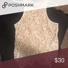 Never worn express top Never worn, size small, perfect condition, white lace /nude top Express Tops Tank Tops