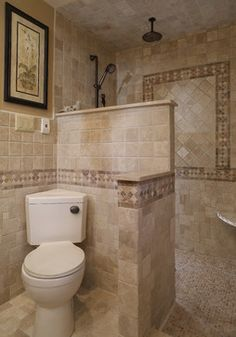Mediterranean Home doorless shower Design Ideas, Pictures, Remodel and Decor Corner toilet! Small Bathroom With Shower, Master Bathroom Shower, Tiny House Bathroom, Bathroom Design Small, Bathroom Ideas, Tiny Bathrooms, Bathroom Remodeling, Remodeling Ideas, Budget Bathroom