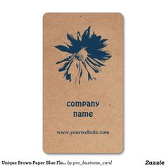Unique Brown Paper Blue Flower Floral Design Double-Sided Standard Business Cards (Pack Of 100)