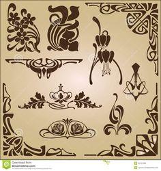Ornamento Do Projeto Dos Elementos E Dos Cantos De Art Nouveau - Baixe conteúdos…