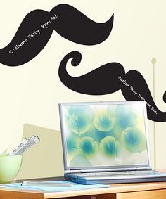 Make dorm rooms, apartments or teenage bedrooms more fun with these quirky mustache decals. Adhesive backing ensures effortless application, while the clever chalkboard surface makes it easy to write notes or silly sayings.Assembled: approx. 45'' W x 24'' HVinylImported