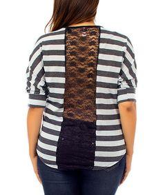 $9.99 Reg. $35.00 in many colors Stripe Lace-Panel Dolman Top - Plus Fresh Looks: Plus-Size Apparel