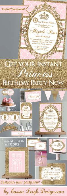 Princess Party Invitations and Decorations by CassiaLeighDesign