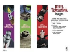 Hotel Transylvania Bookmarks - Free Printable Coloring Pages