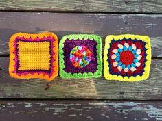 three crochet squares granny squares, crochetbug, crocheted, crocheting, crochet fat bag, crochet bag, crochet purse, crochet tote