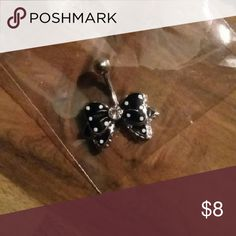 *Black Bow Belly Ring* Black white polka dots bow surgical steel Jewelry