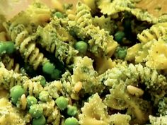 Pasta, Pesto, and Peas from Barefoot Contessa via FoodNetwork.com  Used this pesto recipe with some changes based on review of other recipes and personal preferences - used about 1/2 the olive oil, added 1 T lemon juice, roasted the garlic and pine nuts.