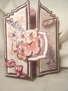 I like the way this opens. Love the shape. Handmade Greeting Card 3D Butterflies Plaque Gate Fold Special Occasions Card | eBay