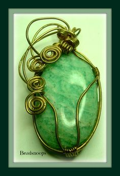 Amazonite wire wrapped gemstone pendant by beadsnoops on Etsy, $15.00