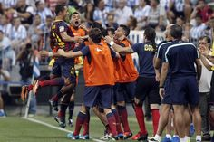 Euforia azulgrana tras el gol de Adriano. | Málaga 0-1 FC Barcelona. [25.08.13]