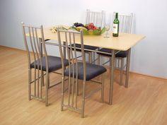 OEM-Metall mit Tischplatte aus Glas mit Stühlen, MDF-Möbel, Essmöbel, Esszimmerstühle. Glass Dining Table, Dining Table Chairs, Furniture, Home Decor, Mdf Furniture, Metal, Table, Eten, Decoration Home